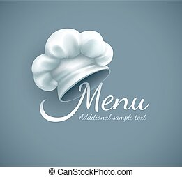 Menu logo with chef cap. Eps10 vector illustration. Gradient...