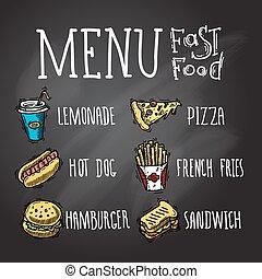 Fast Food Chalkboard - Fast food menu chalkboard decorative...