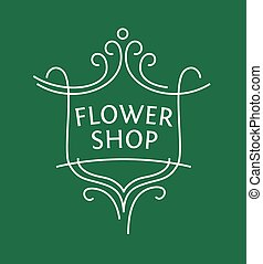 Vector logo for a shop of flowers, potted plants, cut...