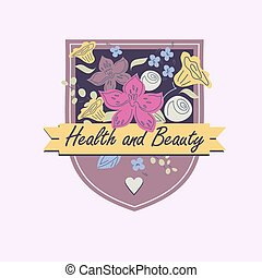 Vector logo with flowers. Beauty and health. Orchids, roses,...