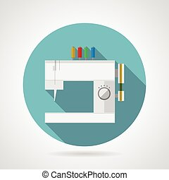 Flat vector icon for sewing machine - Flat blue round icon...
