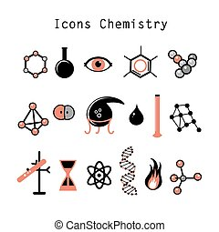set of chemical elements - graphic set chemical objects on...