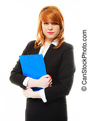 woman holding blue clipboard - Business and education...