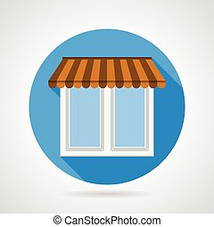Flat vector icon for window with canopy - Flat blue icon for...
