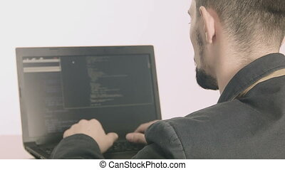 Businessman typing at his desk - Business man computer...