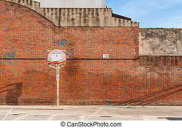 Basketball court with old ring - Basketball court with old...