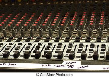 Gaffer tape on Soundboard - Gaffer tape with instrument...