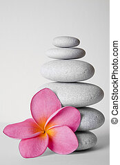 Stone Stack and Frangipani Flower - Stack of white pebbles...