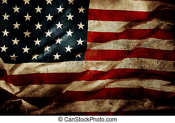 American flag - Closeup of grunge American flag