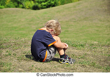 young boy crying - Young blond boy desperation body language