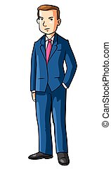 Business man Using Coat Cartoon Illustration