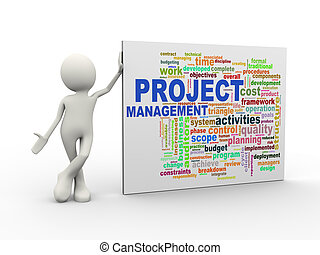 3d man standing with project management wordcloud word tags...