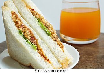 Sandwich with shredded pork and chili paste - sandwich with...