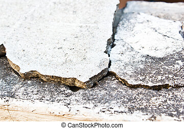 Broken concrete wall - concrete barrier between home had...