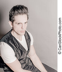 Dark Hair Green Eye Male In V-Neck And Vest - Young Dark...