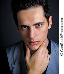 Dark Hair Green Eye Male With Hand On Chin - Cute Dark Hair...