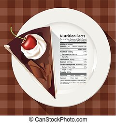 Nutrition facts of chocolate cake - Vector of Nutrition...