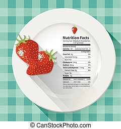 Nutrition facts strawberries - Vector of Nutrition facts...