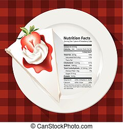 Nutrition facts of Strawberry cake - Vector of Nutrition...