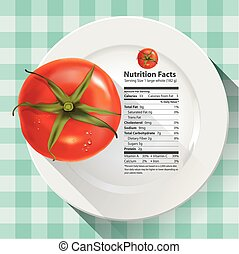 Nutrition facts tomato - Vector of nutrition facts tomato
