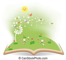 Spring with dandelion in the book