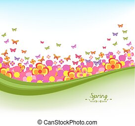 spring banners with flower colorful