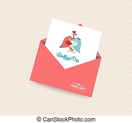 happy valentines day card with envelope heart and bird