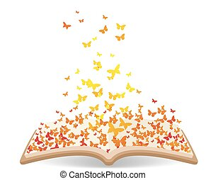 Spring with butterflies in the book