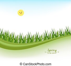 spring banners with grass