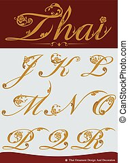 Thai Calligraphic Alphabet Set - Vector of Thai Calligraphic...