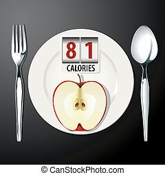 Calories in Apple  - Vector of Calories in Apple
