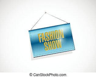 fashion show hanging banner illustration design over a white...