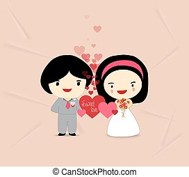 sweet love couple with hearts