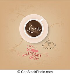 vintage valentines cup of coffee with love
