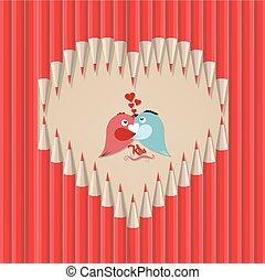 couple bird in heart shape