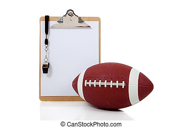 Football Coaches Clipboard with American Football - A...