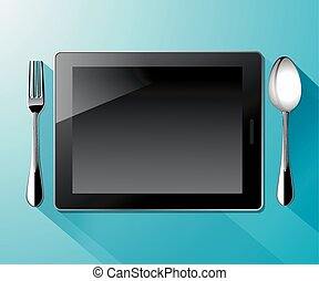tablet pc with spoon and fork - Vector of tablet pc with...