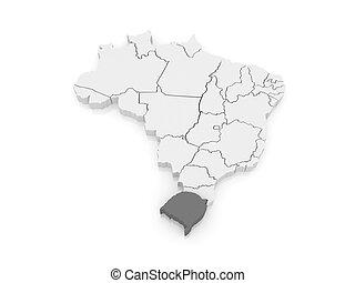 Map of Rio Grande do Sul. Brazil.