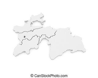 Map of Dushanbe. Tajikistan. 3d
