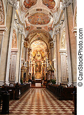 interior of church in Wien - an interior of old church in...