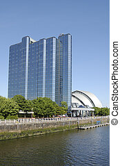 Glasgow-06-0107 - Glass walled hotel and The Armadillo on...