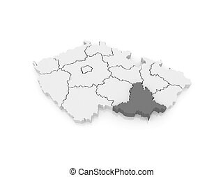 Map of South Moravian Region. Czech Republic. 3d