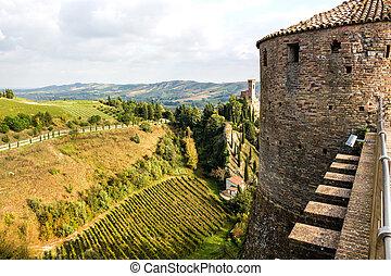 Venetians medieval Fortress in Brisighella - The brickwalls...