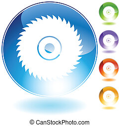 circular saw blade crystal isolated on a white background...