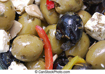 Marinated olives - Martinated olives with peppers and feta...