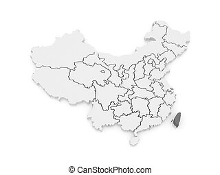 Map of Taiwan. China.