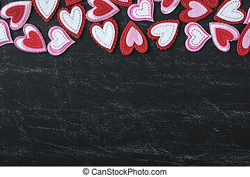 Red Hearts on a Chalkboard for Valentines Day