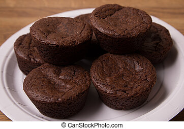 Mini brownies on a plate - Mini brownies stacked on a plate,...