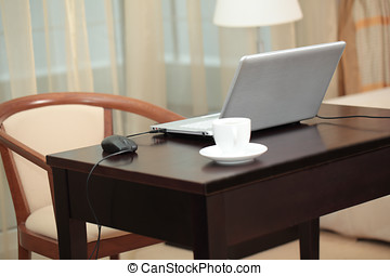 Laptop on a table