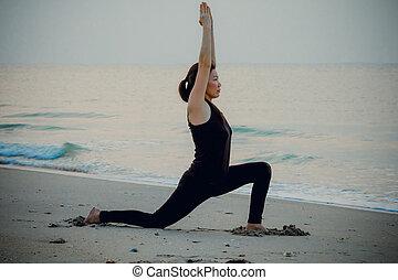 vacker, strand, kvinna,  yoga, Soluppgång